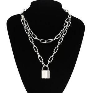 Punk goth lock necklace